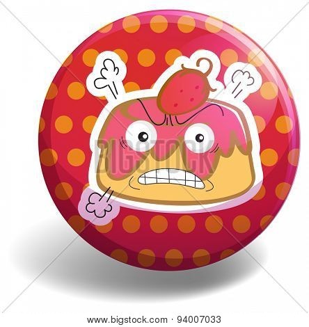 Angry custard on polka dot badge