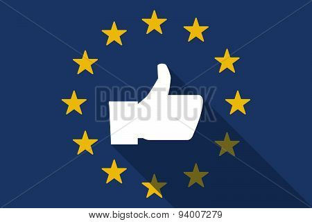 European Union  Long Shadow Flag With A Thumb Up Hand