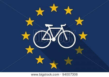 European Union  Long Shadow Flag With A Bicycle