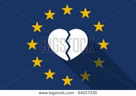 European Union  Long Shadow Flag With A Broken Heart