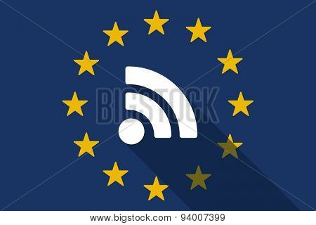 European Union Long Shadow Flag With A Rss Feed Sign