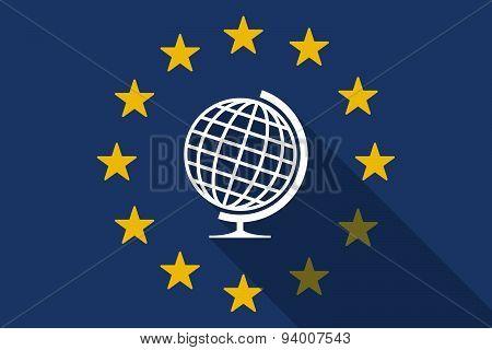 European Union  Long Shadow Flag With A World Globe