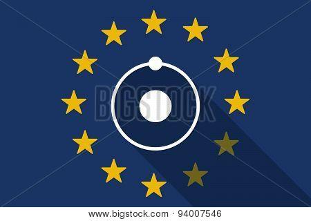 European Union Long Shadow Flag With An Atom