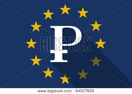 European Union Long Shadow Flag With A Ruble Sign