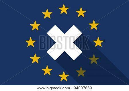 European Union Long Shadow Flag With An X Dsign