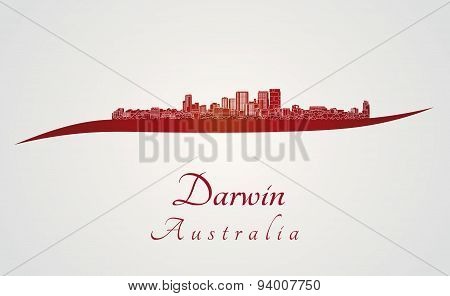 Darwin Skyline In Red