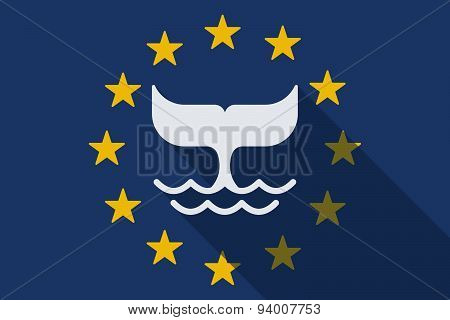 European Union Long Shadow Flag With A Whale Tail