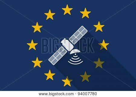 European Union Long Shadow Flag With A Satellite