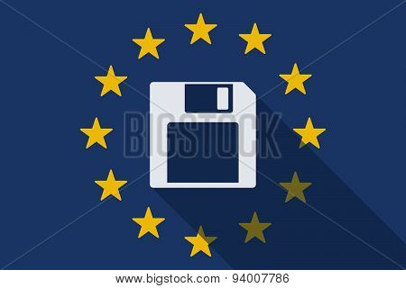 European Union Long Shadow Flag With A Floppy