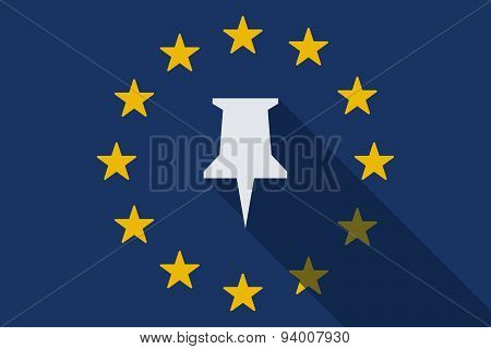 European Union Long Shadow Flag With A Push Pin