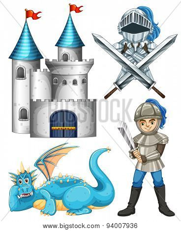 Set of fairytales with knight and dragon