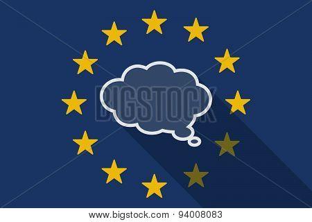 European Union Long Shadow Flag With A Comic Cloud Balloon