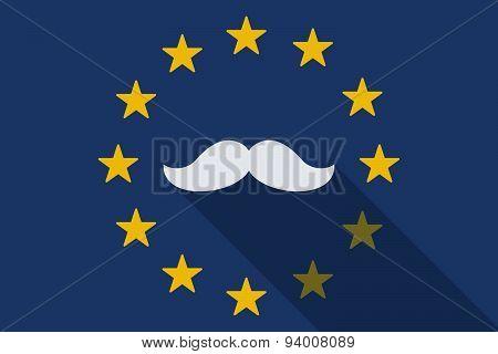European Union Long Shadow Flag With A Moustache