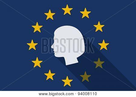 European Unionlong Shadow Flag With A Female Head