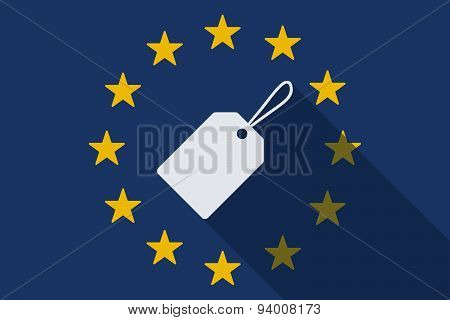 European Union Long Shadow Flag With A Label