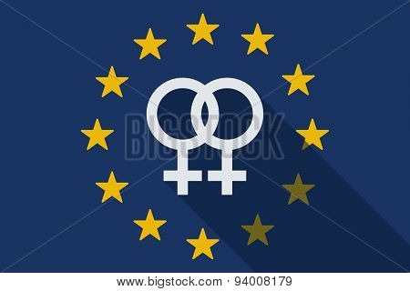 European Union Long Shadow Flag With A Lesbian Sign