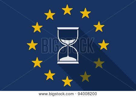 European Union  Long Shadow Flag With A Sand Clock