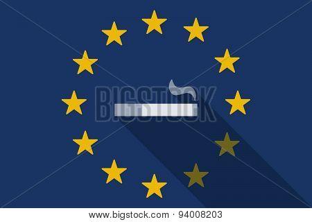 European Union  Long Shadow Flag With A Cigarette