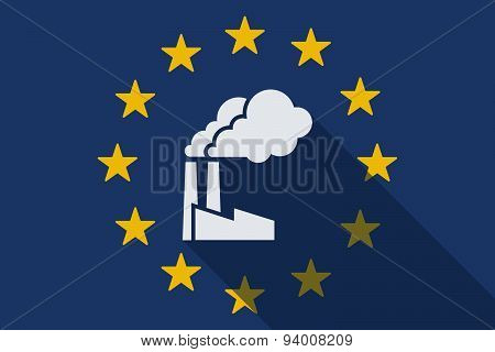 European Union Long Shadow Flag With A Factory