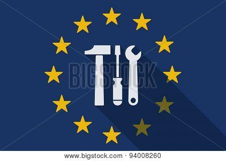 European Union Long Shadow Flag With A Tool Set
