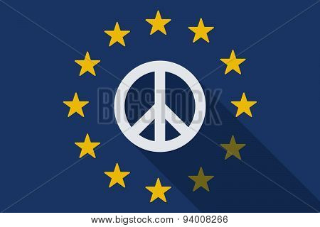 European Union Long Shadow Flag With A Peace Sign