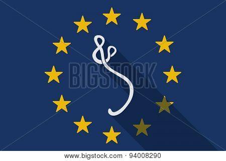 European Union Long Shadow Flag With An Ebola Sign
