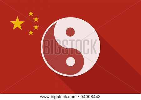 China Long Shadow Flag With A Ying Yang