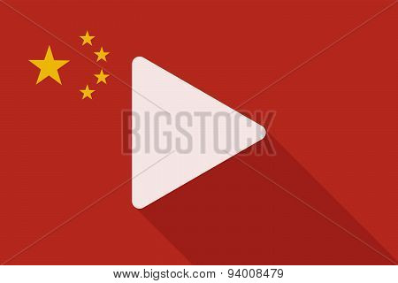 China Long Shadow Flag With A Play Sign