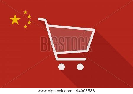China Long Shadow Flag With A Shopping Cart