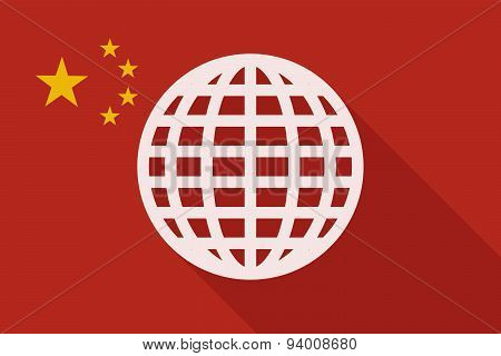 China Long Shadow Flag With A World Globe