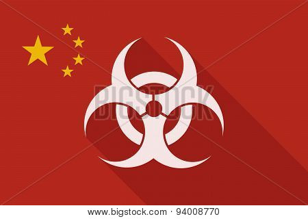 China Long Shadow Flag With A Biohazard Sign