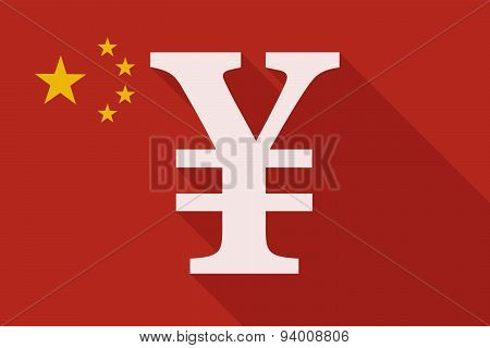 China Long Shadow Flag With A Yen Sign