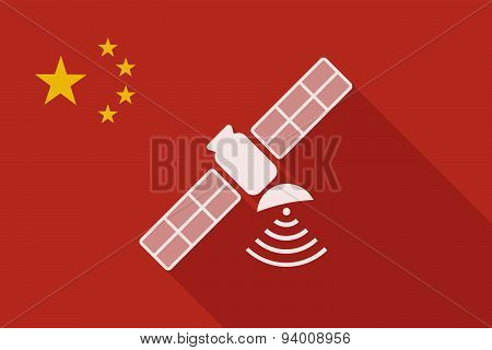 China Long Shadow Flag With A Satellite