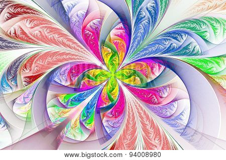 Diagonal Symmetric Multicolored Fractal Tracery. Collection - Frosty Pattern.