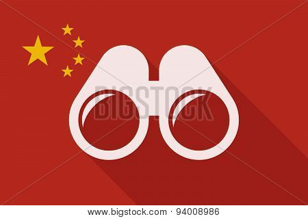 China Long Shadow Flag With A Binoculars