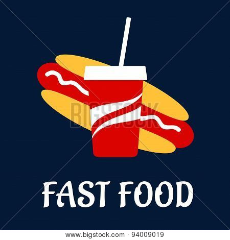 Fast food hot dog with soda