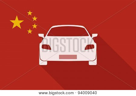 China Long Shadow Flag With A Car