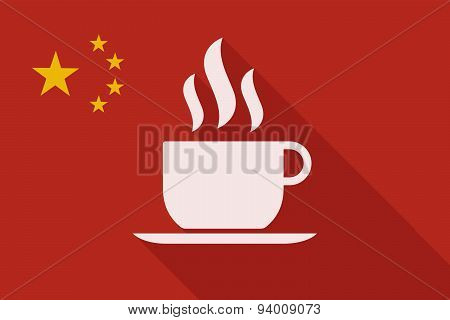 China Long Shadow Flag With A Cup Of Coffee