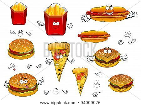 Fast food french fries, pizza, hotdog and burgers
