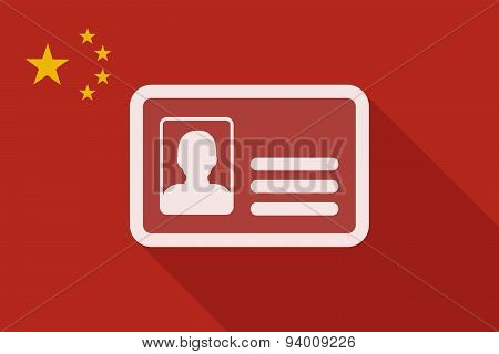 China Long Shadow Flag With An Id Card