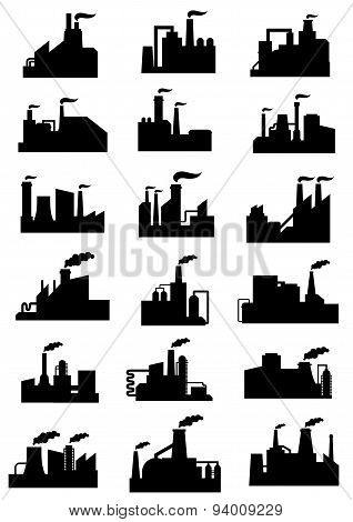 Industrial factories and plants black icons