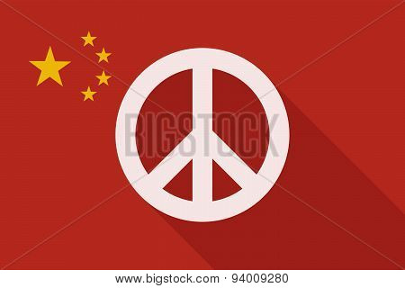 China Long Shadow Flag With A Peace Sign