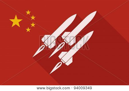 China Long Shadow Flag With Missiles