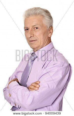 Imposing elderly man in shirt