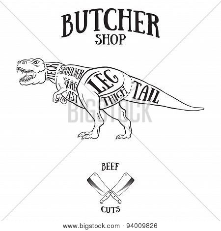 Butcher Cuts Scheme Of Dinosaur