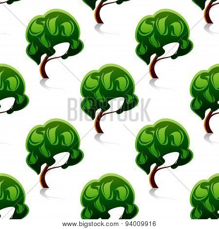 Abstract green trees seamless pattern