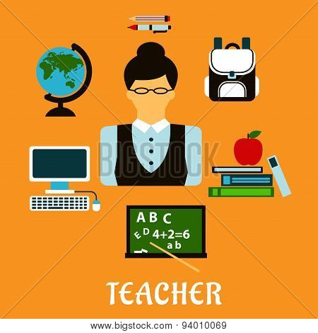 School teacher profession flat concept