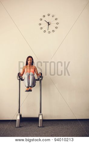 Fit Woman Doing Abs Exercises In Gym Fitness Vertical Rack