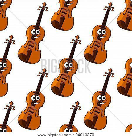 Violin cartoon character seamless pattern
