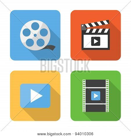 Flat Video Icons With Long Shadows. Vector Illustration